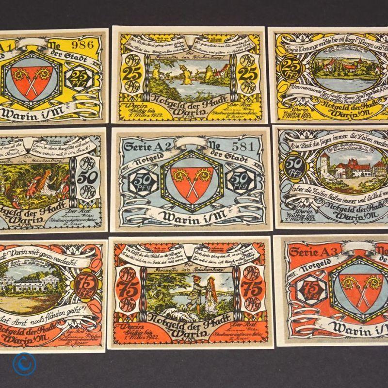 9 x Notgeld Stadt Warin , german emergency money , M/G 1378.1 , kfr/unc