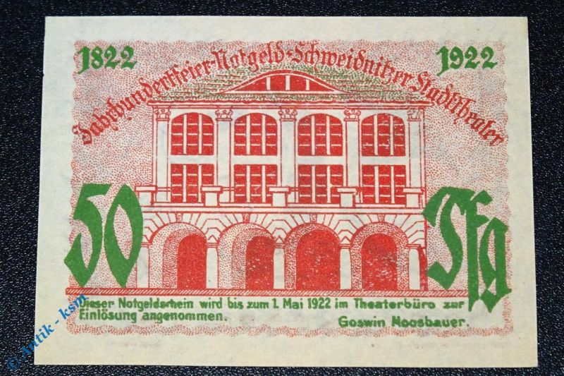 Notgeld Schweidnitz , Stadttheater , 50 Pfennig Schein , german Notgeld  kfr/unc