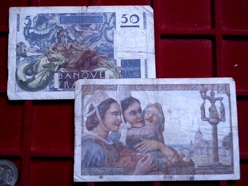 A  - Lot Frankreich : 20 und 50 Francs, 1945 und 1946 -- selten --