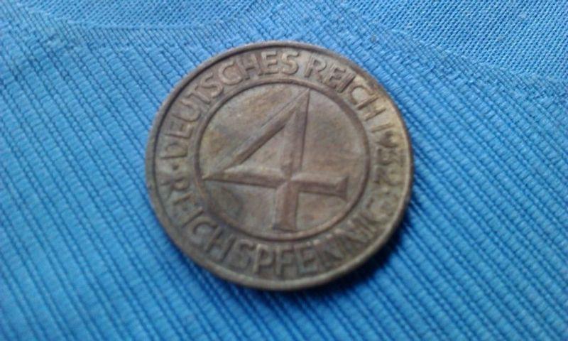 A  Weimarer Rep: 4 Reichspfennig 1932 D - Top-Stück & selten - Brüning-Taler