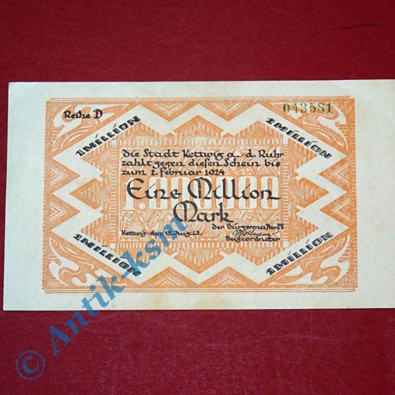 Großnotgeld Kettwig , Stadt , 1 Million Mark Schein vom 15.08.1923 , Westfalen