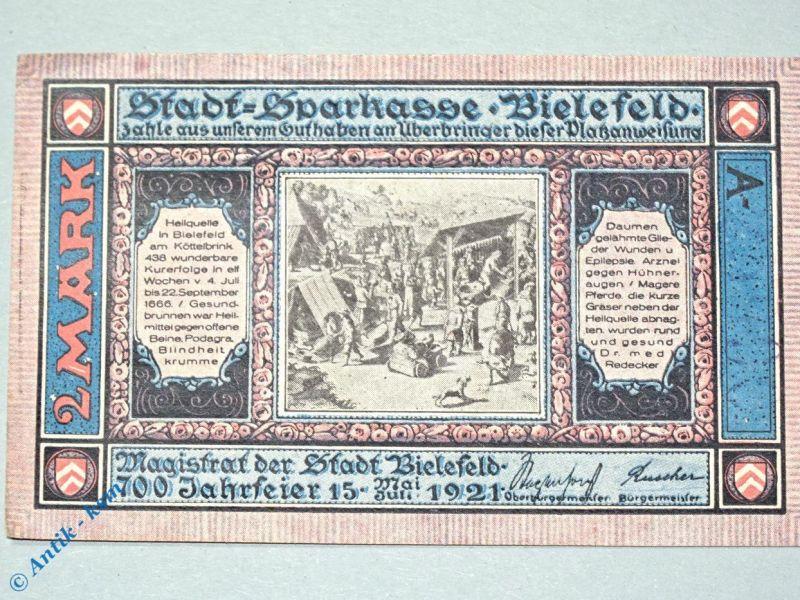 Notgeld Bielefeld , 2 Mark Schein Ohne Kennummer , Mehl Grabowski 103.6 c , kfr