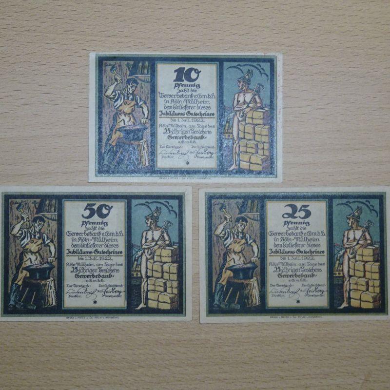 3 x Top Notgeld: KÖLN Mühlheim, GEWERBEBANK , kompl Satz kfr/unc