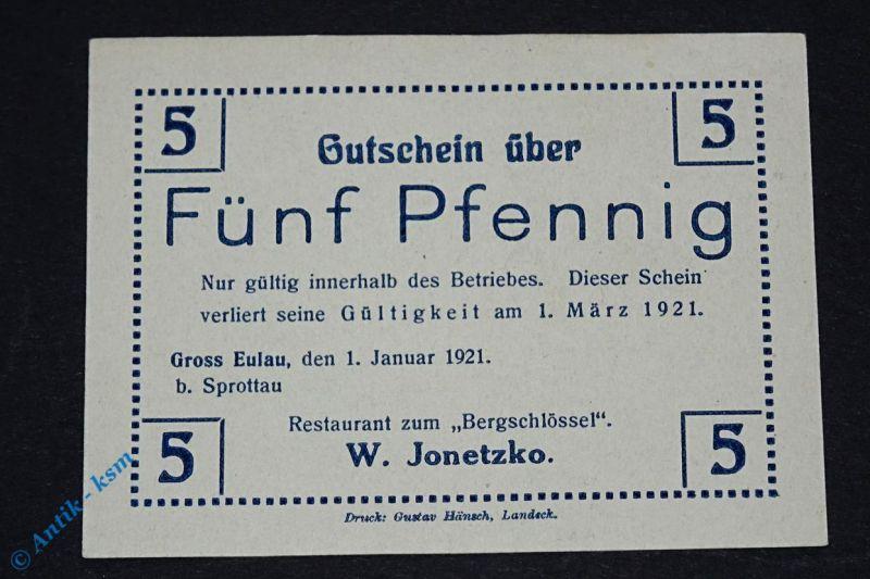 Notgeld Groß Eulau , 5 Pfennig Schein bis 01.03.1921 , M/G 481.2a , kfr / unc