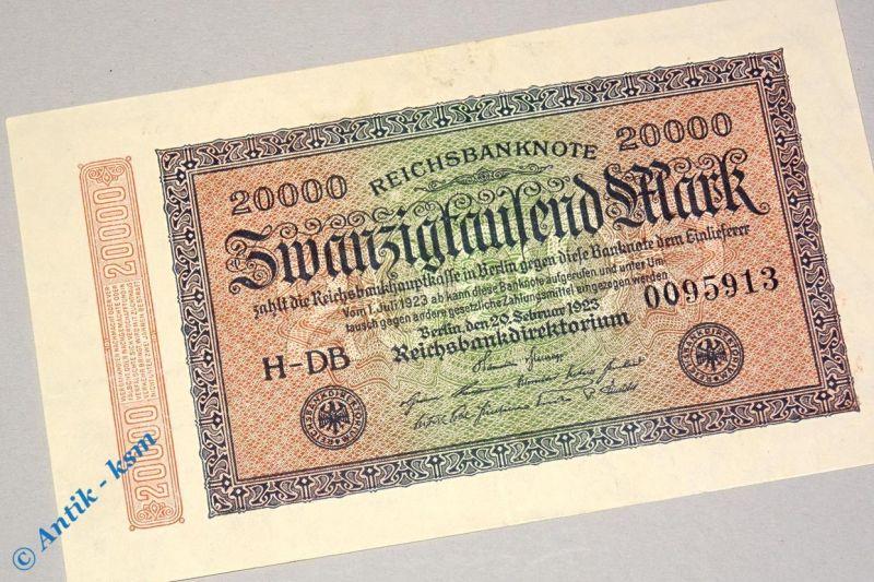 Reichsbanknote über 20.000 Mark , DB 7 stellig , Rosenberg 84 f , Banknote 1923