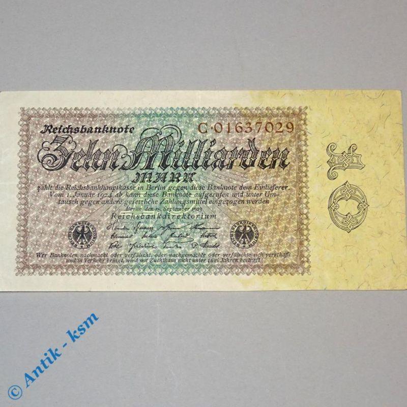 10 Milliarden Mark , Reichsmark Schein , Ros 113 a , Reichsdruck C , Erhaltung