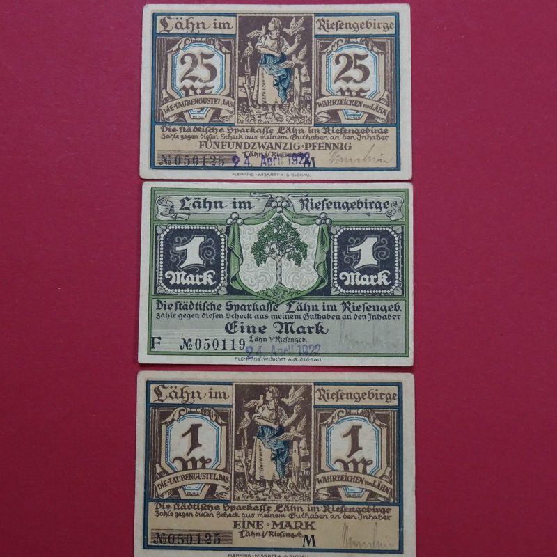 A 3 x WOW Notgeld Lähn, mit Datum + Kto + Us , 25 Pf und 2 x 1 Mark kfr - RRR-