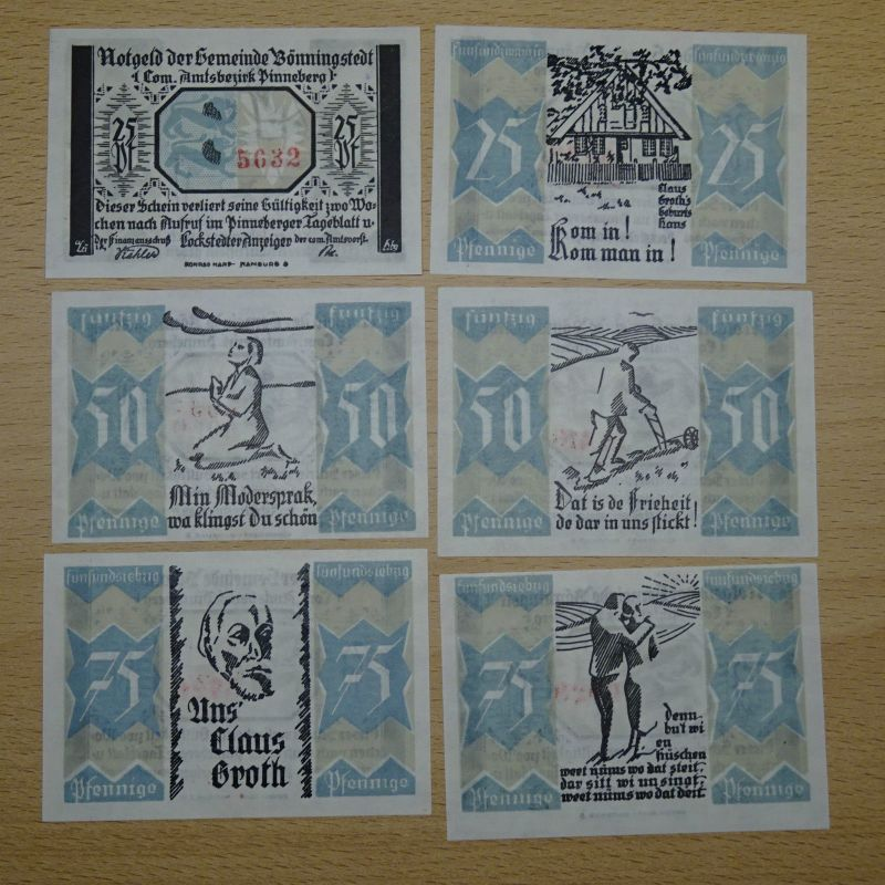 6 x Top Notgeld BÖNNINGSTEDT, Gemeinde, 20 - 75 Pf. komplett , kfr