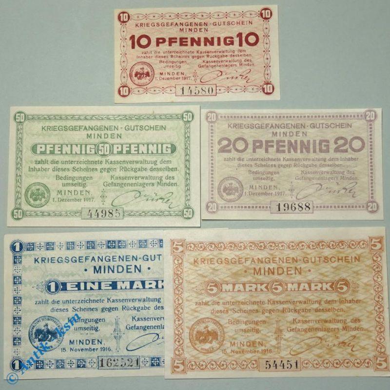 5 x Kriegsgefangenen Lagergeld , 5 Gutscheine Minden von 1917, alle kfr / unc
