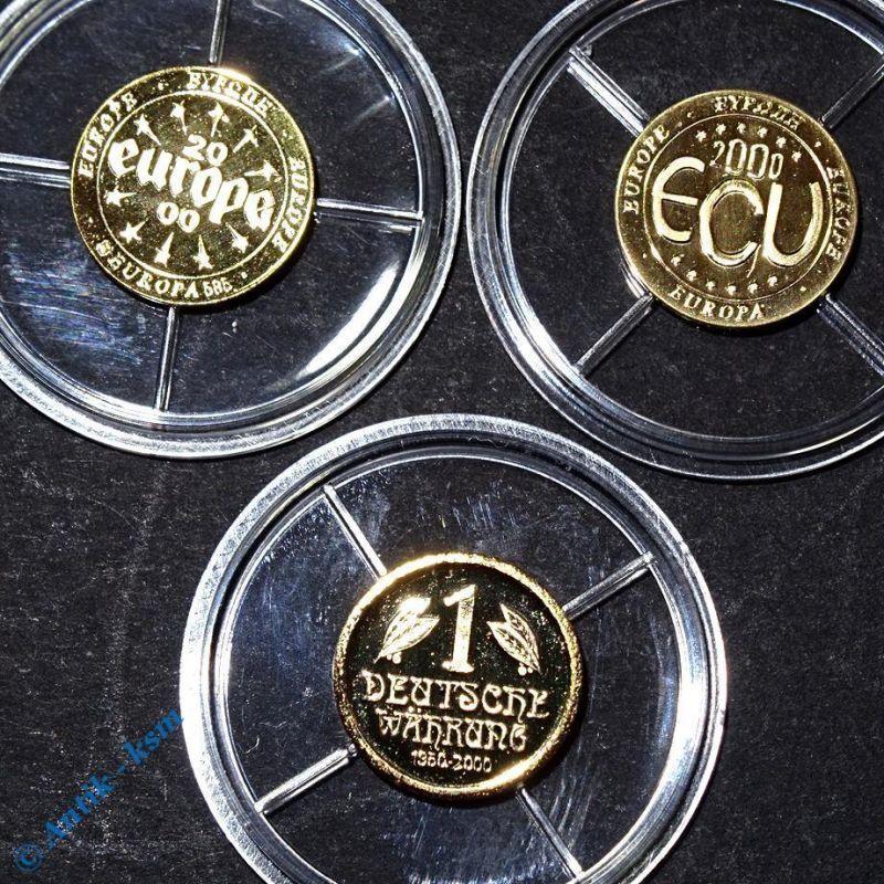 3 kleine Goldmünzen , 1 deutsche Währung, ECU und Europa , stempelglanz , pp ?