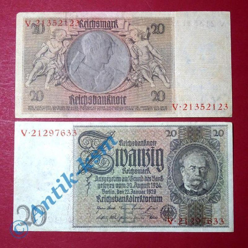 Reichsbanknote 20 Mark, Rosenberg 174a , E-2 , Siemens , Banknote von 1929