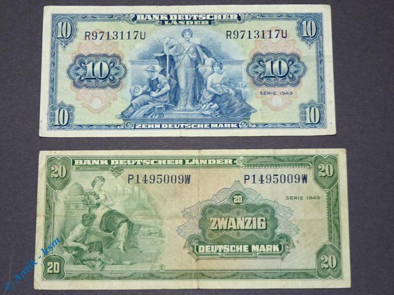 2 x Banknote , 10 und 20 Mark von 1949 , Bank deutscher Länder , Kopfgeld , BDL