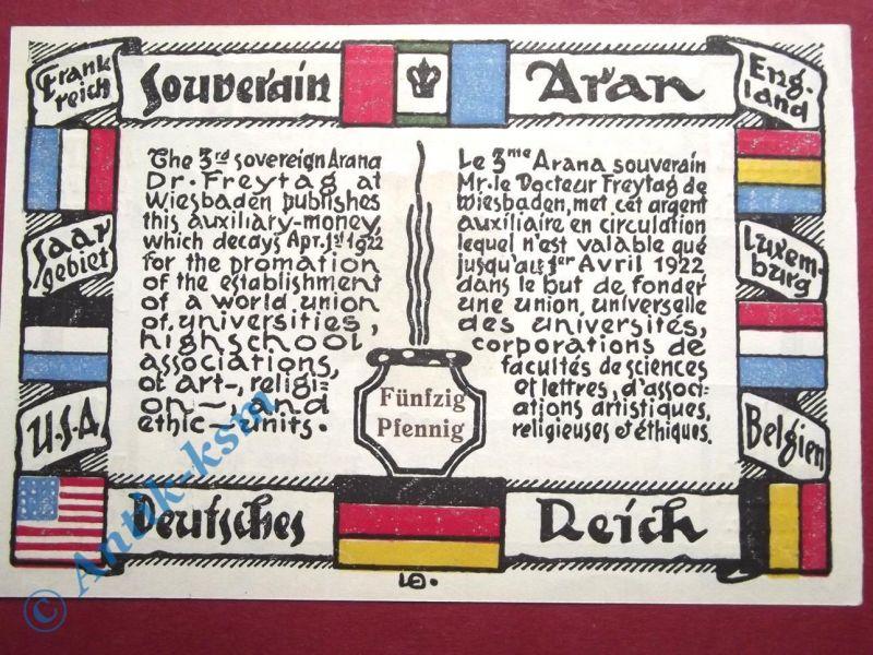 Notgeld Wiesbaden , Dr. Freytag , 50 Pfennig Schein , Mehl Grabowski 1425.1 , vo