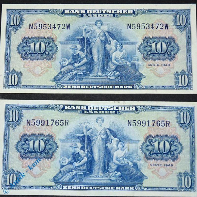1 x Banknote 10 Mark Bank deutscher Länder 1949  Ros 258  Kopfgeld   -Erhaltung-