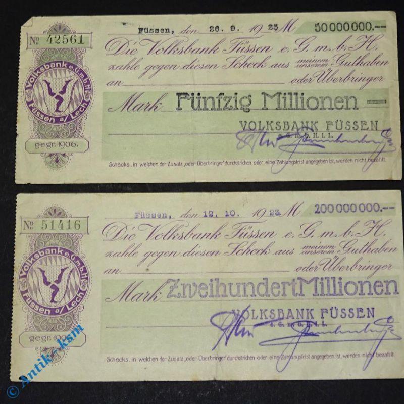 2 x Notgeld , 2 Schecks der Volksbank Füssen 50 und 200 Millionen Mark , 1923