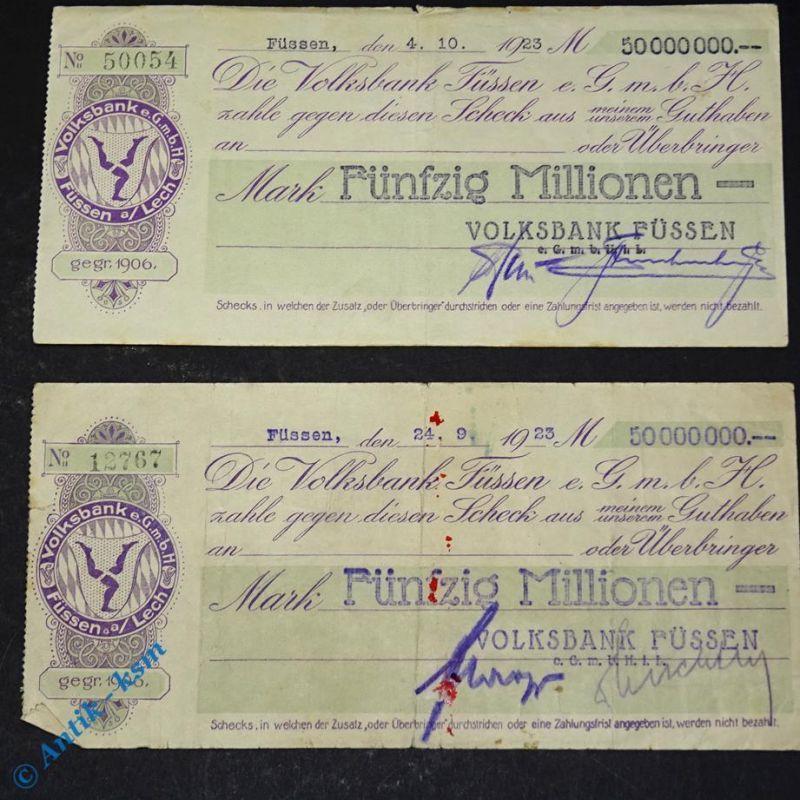 2 x Notgeld , 2 Schecks der Volksbank Füssen 50 Millionen Mark ,   Us. Varianten