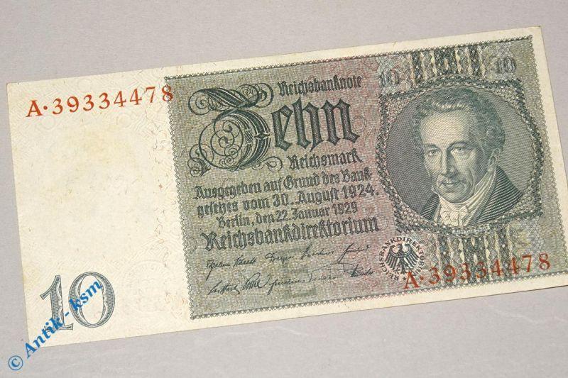Reichsbanknote über 10 Mark E/A , Rosenberg 173 b , Thaer , Banknote von 1929