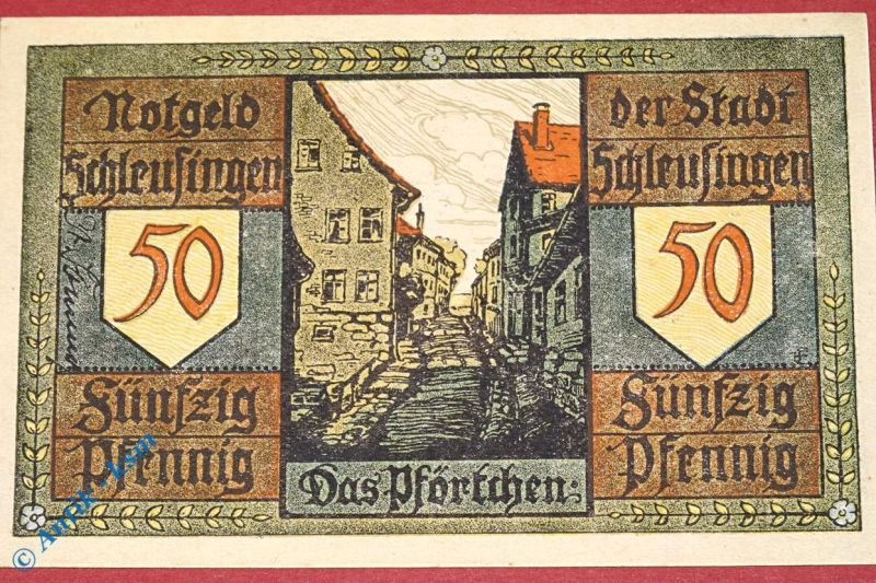 Notgeld Schleusingen , 50 Pfennig Schein Nr 1 , M/G 1181.3 a , dick + gelblich