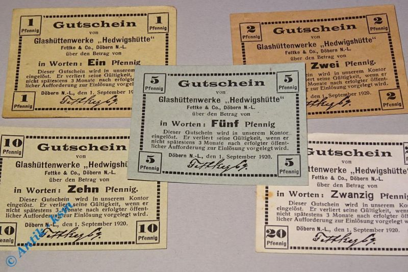 5 x Notgeld Döbern , Glashüttenwerk Hedwigshütte  , Tieste 1425.05.01 bis 05
