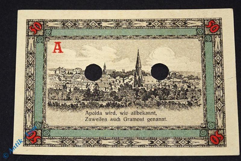 Notgeld Apolda , Musterschein , 50 Pfennig A rot , Mehl Grabowski 36.3 M kfr/unc