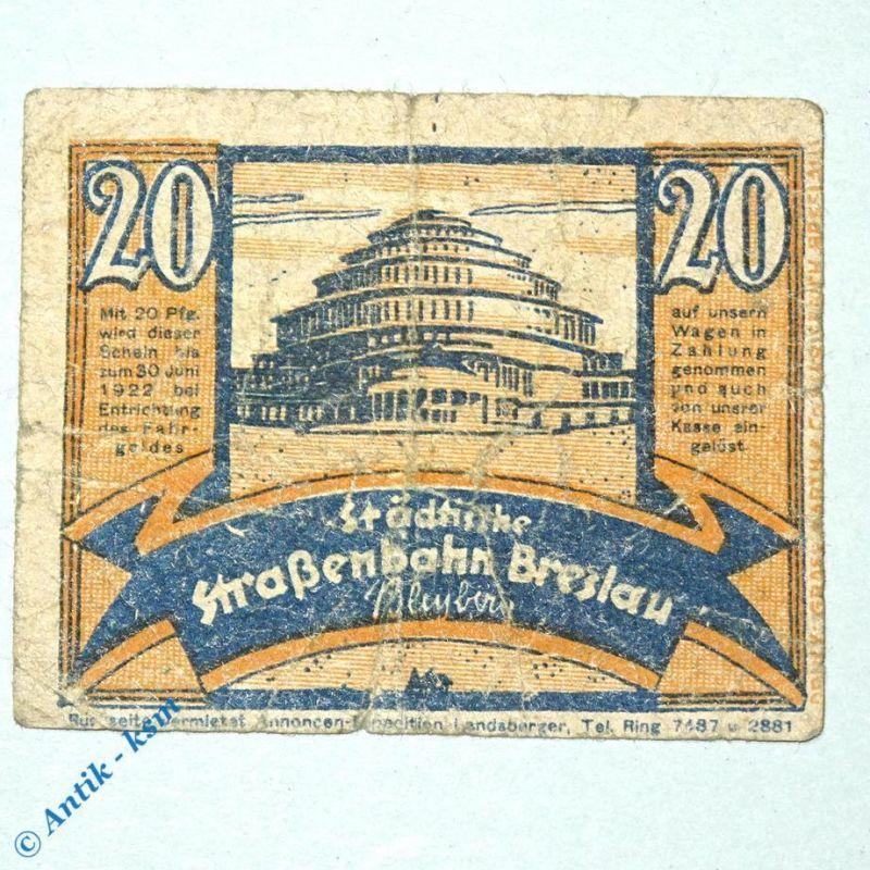 Notgeld Straßenbahn Breslau , Wroclaw , 20 Pfennig Schein Nr 3.10 , M/G 187.2