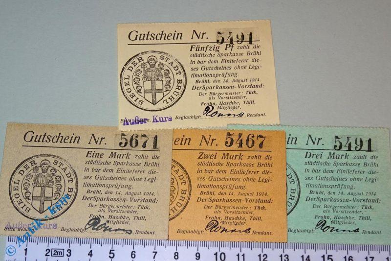 4 x Notgeld der Sparkasse Brühl , 50 Pfennig bis 3 Mark , Dießner 52.7 kfr/unc