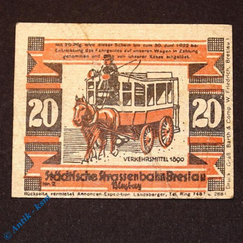 Notgeld Straßenbahn Breslau , Wroclaw , 20 Pfennig Schein - 1890 , M/G 187.4
