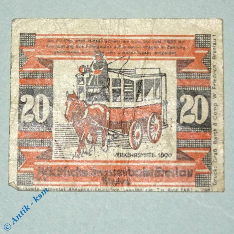 Notgeld Straßenbahn Breslau , Wroclaw , 20 Pfennig Schein Nr 2.2 , M/G 187.4