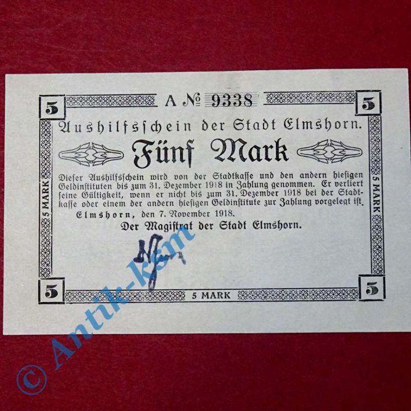 Großnotgeld Elmshorn , Stadt , 5 Mark Schein vom 07.11.1918 , Schleswig Holstein