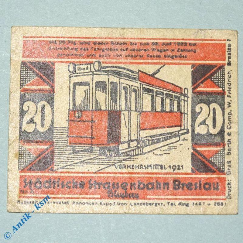 Notgeld Straßenbahn Breslau , Wroclaw , 20 Pfennig Schein Nr 4.2 , M/G 187.4