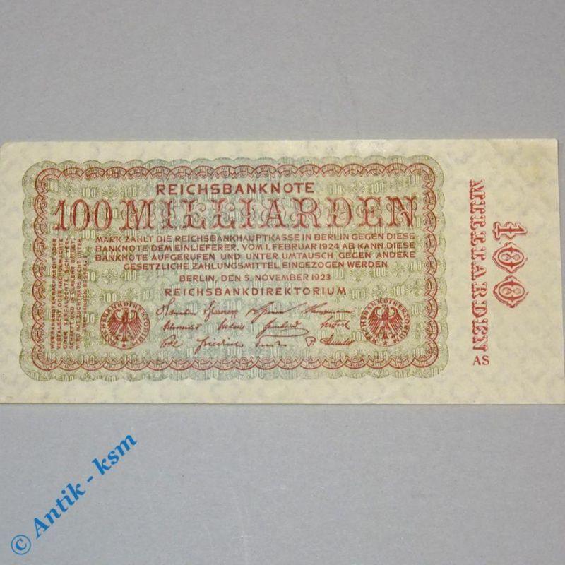 100 Milliarden Mark , Reichsmark Schein , Ros 130 , Firmenzeichen = AS , kfr/unc