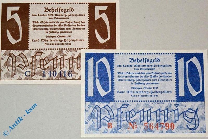 2 x Alliierte Besatzung Württemberg Hohenzollern , 5 und 10 Pfennig vom Okt.1947