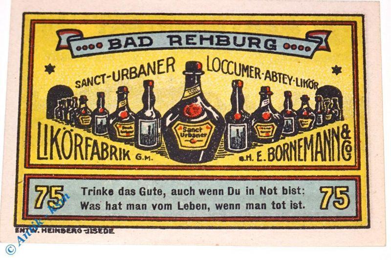 Seltener , Notgeld Rehburg , E. Bornemann , 75 Pfennig Nr 2 , M/G 1106.1 kfr/unc