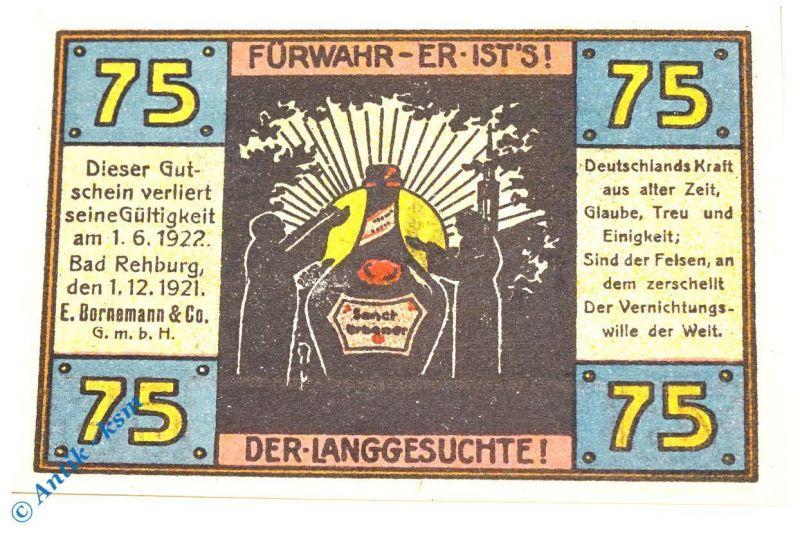 Seltener , Notgeld Rehburg , E. Bornemann , 75 Pfennig Nr 1 , M/G 1106.1 kfr/unc