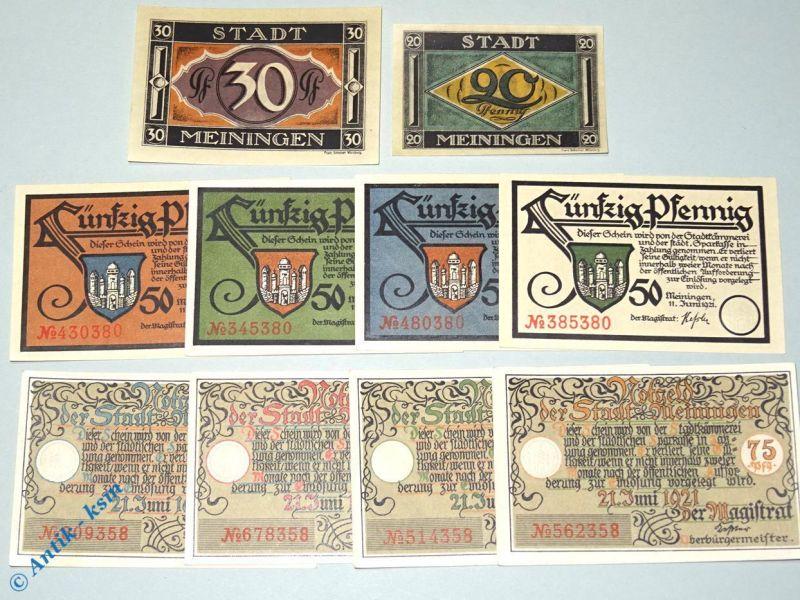 10 x Notgeld Meiningen , 4 Sets mit 10 Scheinen , Mehl Grabowski 877.1 bis 4
