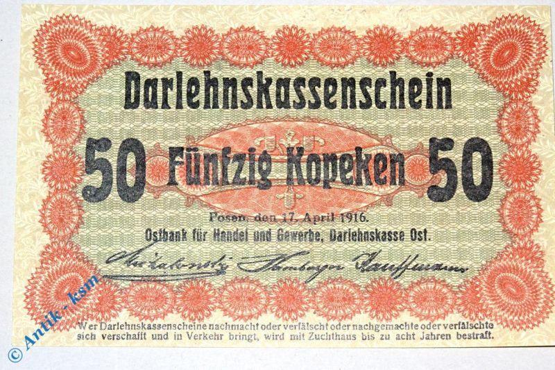 Ros 458 , 50 Kopeken Schein , deutsche Besatzung Russland  17.04.1916 , kfr/unc