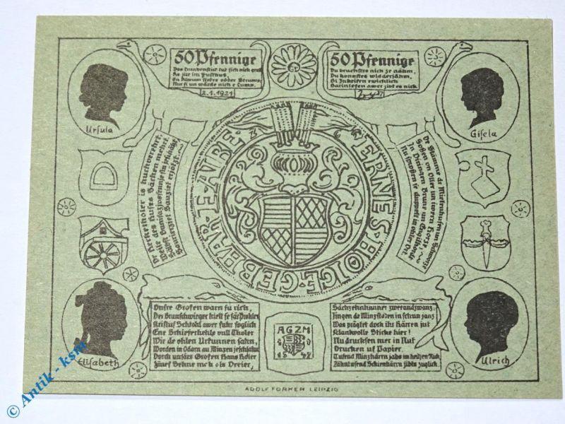 Notgeld Artern Bergwart , 50 Pfennig Schein Papier grün , M/G 45.2 , kfr / unc