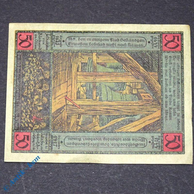 Notgeld Artern 50 Pfennig Papier = grün , M/G 45.10 , von 1921 , german Notgeld