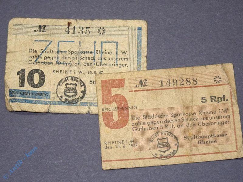 Seltenes Notgeld von 1947 , 5 und 10 Reichspfennig  Stadthauptkasse Rheine i. W.