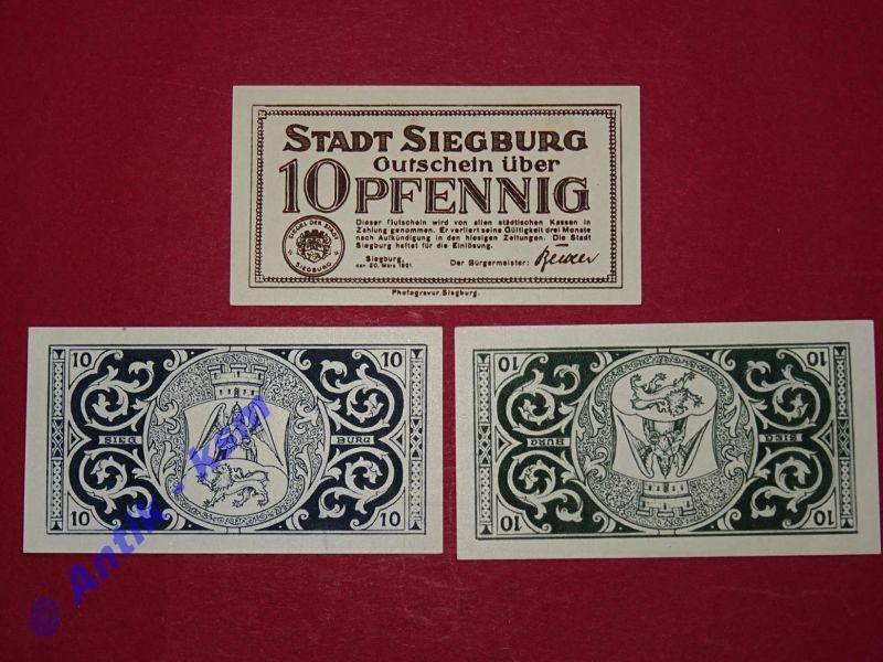 A 3 x Notgeld Siegburg ohne Wz. , emergency Money , 3 x 10 Pfennig , kfr -selten