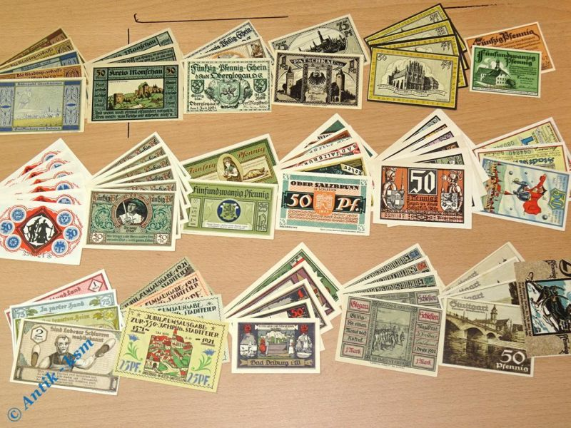 Tolles Notgeld Lot , 70 Scheine , 18 Serien  german emergency money , kfr/unc 15