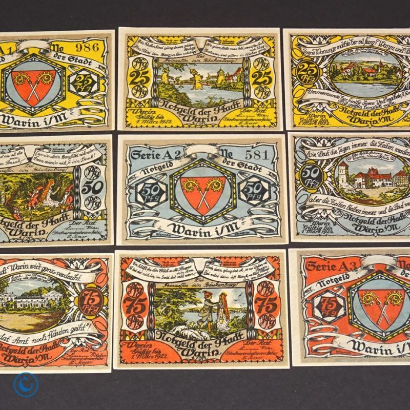 9 x Notgeld Stadt Warin , german emergency money , M/G 1378.1 , kfr/unc