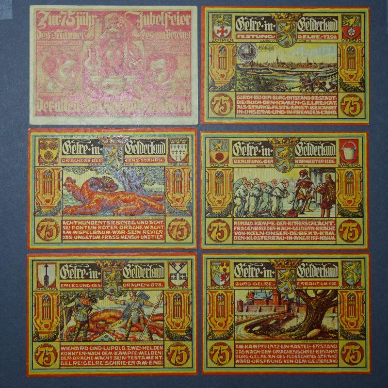 6 x WOW Notgeld Stadt Geldern, Männergesangverein Serie: A, 6 x 75 Pfennig TOP