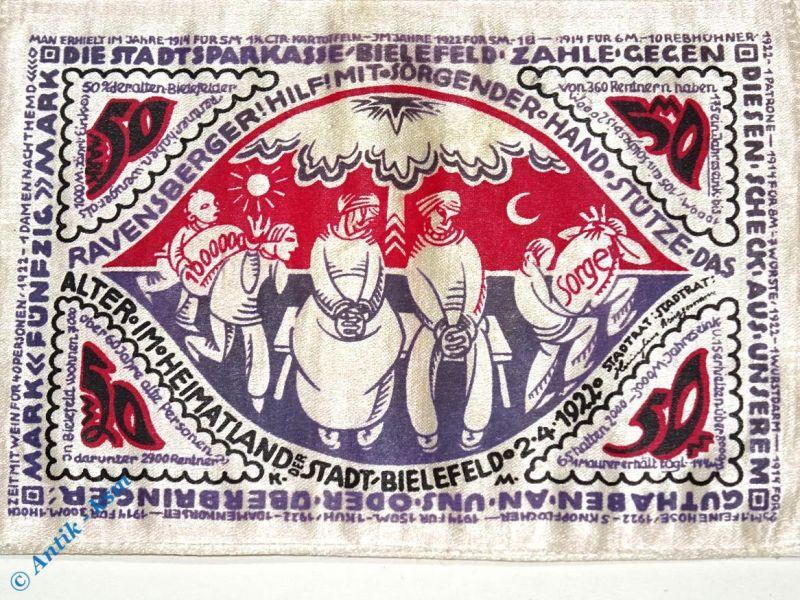 Seiden Notgeld Bielefeld , 50 Mark Schein mit Riechkissen , M / G 103.14 R