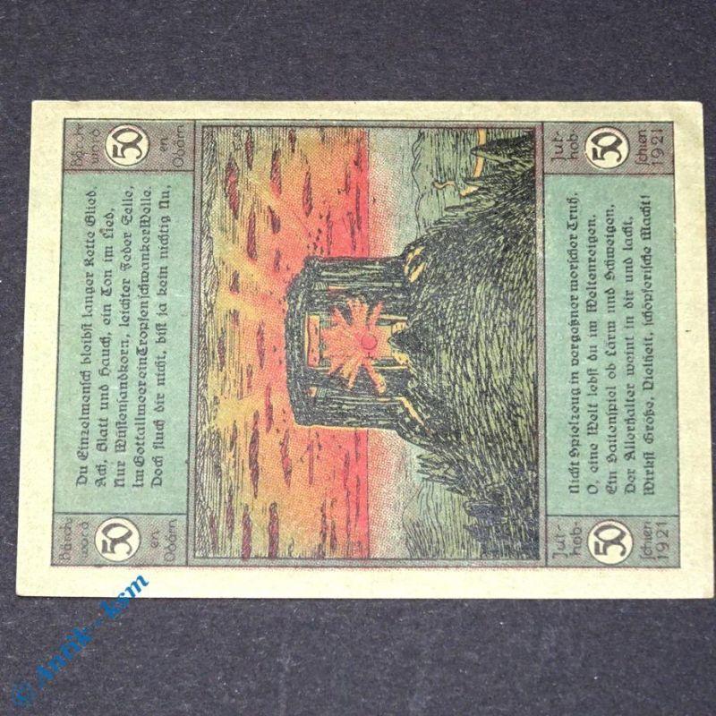 Notgeld Artern 50 Pfennig Papier = grün , M/G 45.5 , von 1921 , german Notgeld