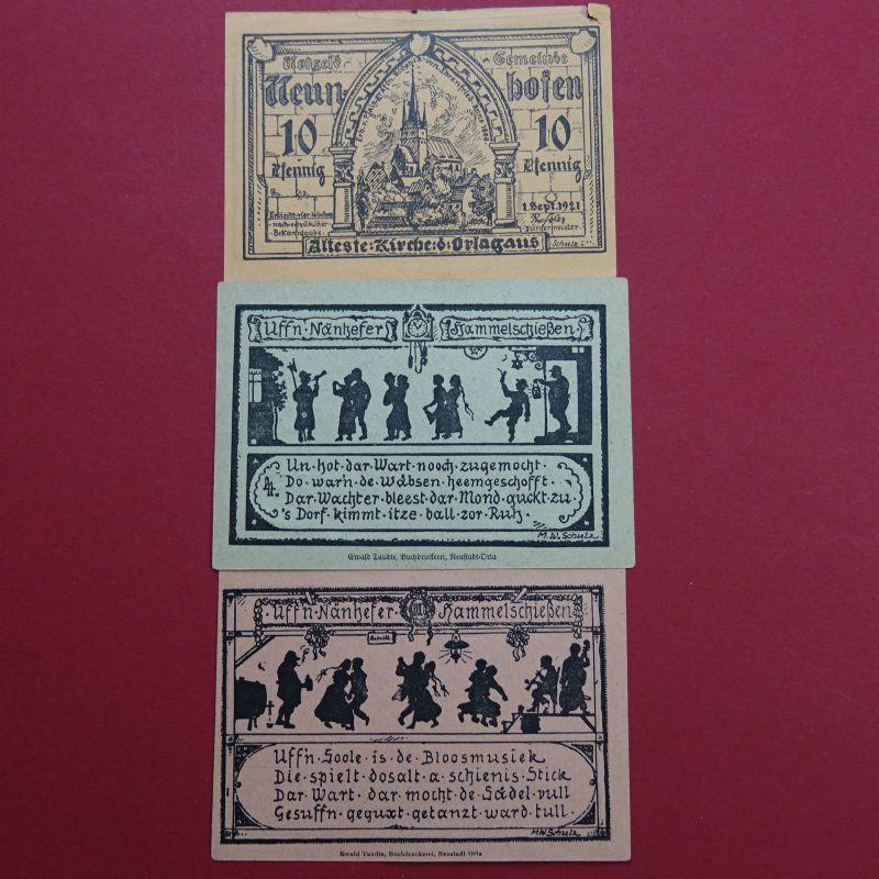A 5 x Notgeld Gemeinde Neunhofen , 10, 2 x 60 und 2 x 75 Pfennig , eher seltener