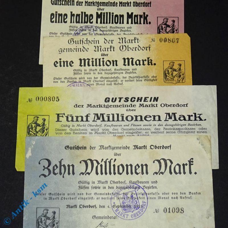 1 Set Groß Notgeld , 4 Scheine Markt Oberdorf , 1/2 bis 10 Millionen Mark , 1923