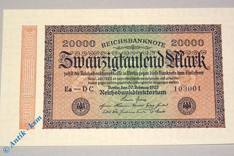 Reichsbanknote über 20.000 Mark , seltenes Wz Mäander , Rosenberg 84 i , kfr/unc