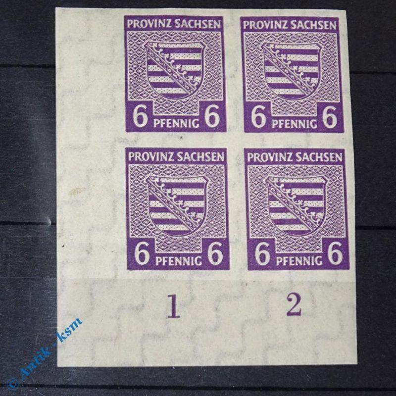 4 er Block Eck Randstück , Briefmarken der SBZ , 4 x 6 Pf. Provinz Sachsen