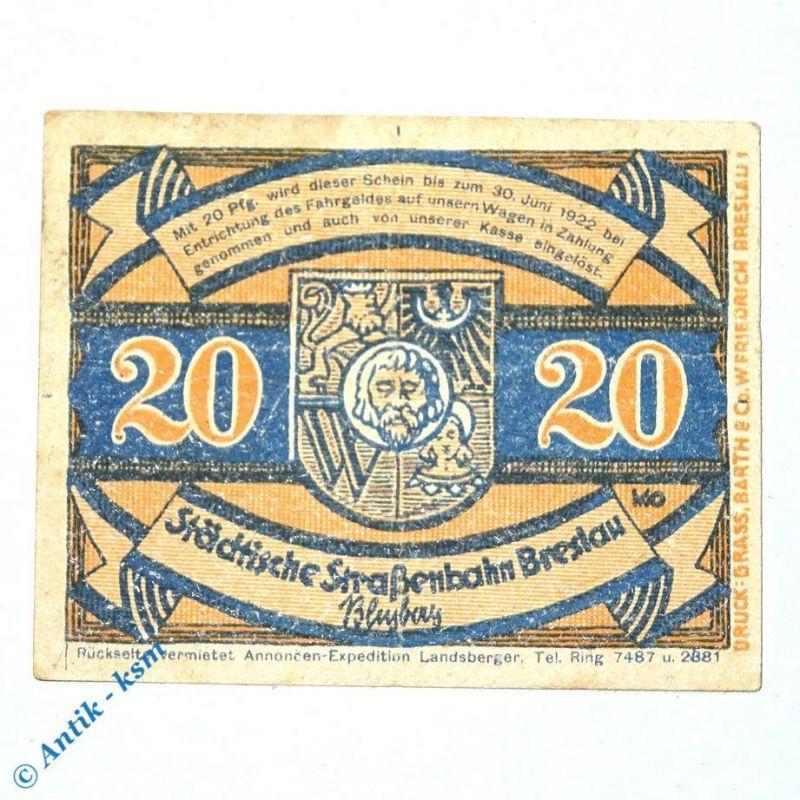 Notgeld Straßenbahn Breslau , Wroclaw , 20 Pfennig Schein Nr 1.3 , M/G 187.2